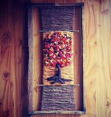 Telar panal abeja tonos arbol otoño